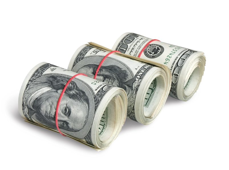 A rolls of dollars, isolated