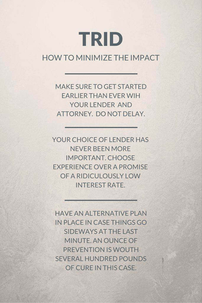 What can you do to make sure TRID does not impact you? Here are some ideas.